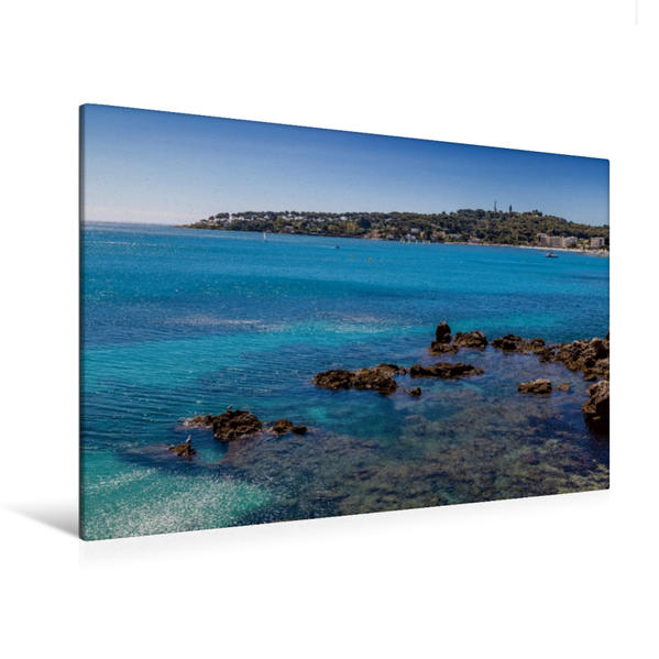 Premium Textil-Leinwand 120 cm x 80 cm quer, CÔTE D'AZUR Meeresblick | Wandbild, Bild auf Keilrahmen, Fertigbild auf echter Leinwand, Leinwanddruck - Coverbild
