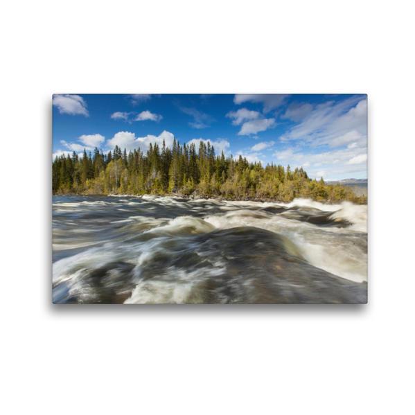 Premium Textil-Leinwand 45 cm x 30 cm quer, Wasserlauf in Schweden | Wandbild, Bild auf Keilrahmen, Fertigbild auf echter Leinwand, Leinwanddruck - Coverbild