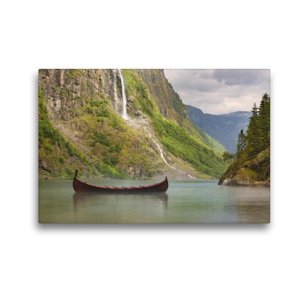 Premium Textil-Leinwand 45 cm x 30 cm quer, Naeroyfjord in Norwegen | Wandbild, Bild auf Keilrahmen, Fertigbild auf echter Leinwand, Leinwanddruck - Coverbild