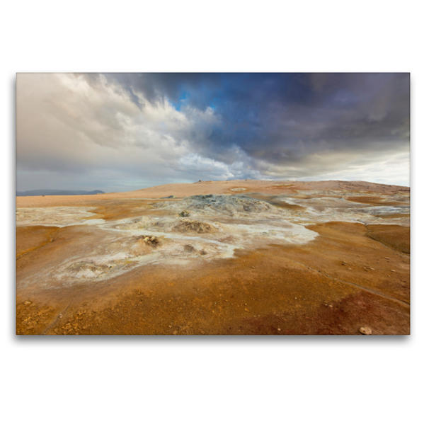 Premium Textil-Leinwand 120 cm x 80 cm quer, Námafjall Island   Wandbild, Bild auf Keilrahmen, Fertigbild auf echter Leinwand, Leinwanddruck - Coverbild