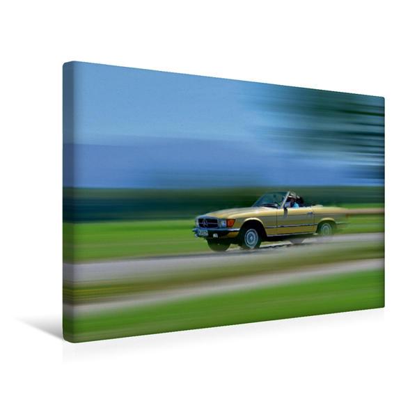 Premium Textil-Leinwand 45 cm x 30 cm quer, Ein Motiv aus dem Kalender Mercedes SL W107 - Ein Klassiker | Wandbild, Bild auf Keilrahmen, Fertigbild auf echter Leinwand, Leinwanddruck - Coverbild