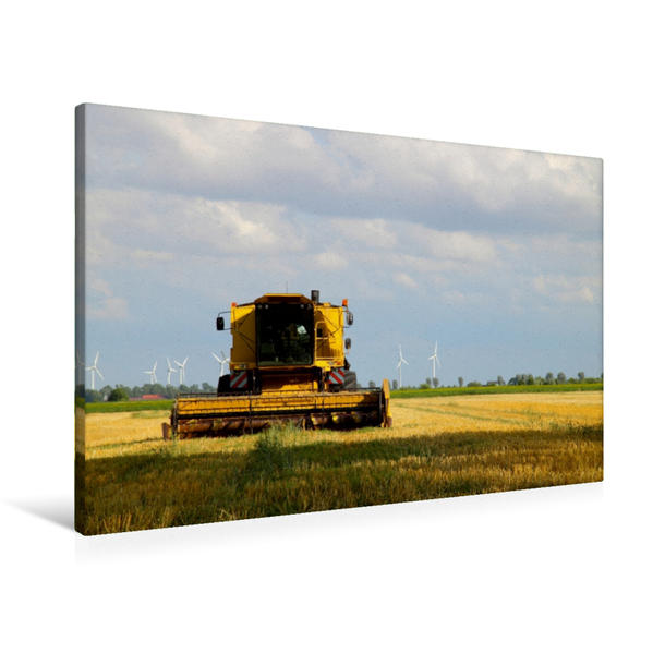 Premium Textil-Leinwand 90 cm x 60 cm quer, Mähdrecher auf einem Stoppelfeld | Wandbild, Bild auf Keilrahmen, Fertigbild auf echter Leinwand, Leinwanddruck - Coverbild