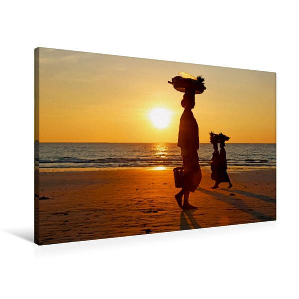 Premium Textil-Leinwand 90 cm x 60 cm quer, Verkäuferinnen am Ngapali Beach | Wandbild, Bild auf Keilrahmen, Fertigbild auf echter Leinwand, Leinwanddruck - Coverbild