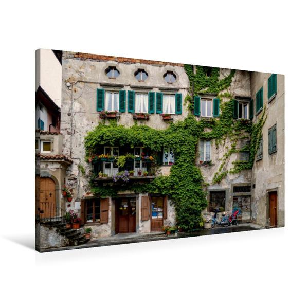 Premium Textil-Leinwand 90 cm x 60 cm quer, Balkon in Pisogna | Wandbild, Bild auf Keilrahmen, Fertigbild auf echter Leinwand, Leinwanddruck - Coverbild