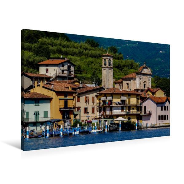 Premium Textil-Leinwand 90 cm x 60 cm quer, Blick auf Carzano | Wandbild, Bild auf Keilrahmen, Fertigbild auf echter Leinwand, Leinwanddruck - Coverbild