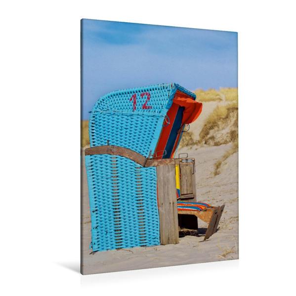 Premium Textil-Leinwand 80 cm x 120 cm  hoch, Strandkorb   Wandbild, Bild auf Keilrahmen, Fertigbild auf echter Leinwand, Leinwanddruck - Coverbild