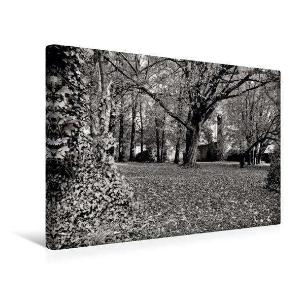 Premium Textil-Leinwand 45 cm x 30 cm quer, Herbstlicher Schlosspark | Wandbild, Bild auf Keilrahmen, Fertigbild auf echter Leinwand, Leinwanddruck - Coverbild