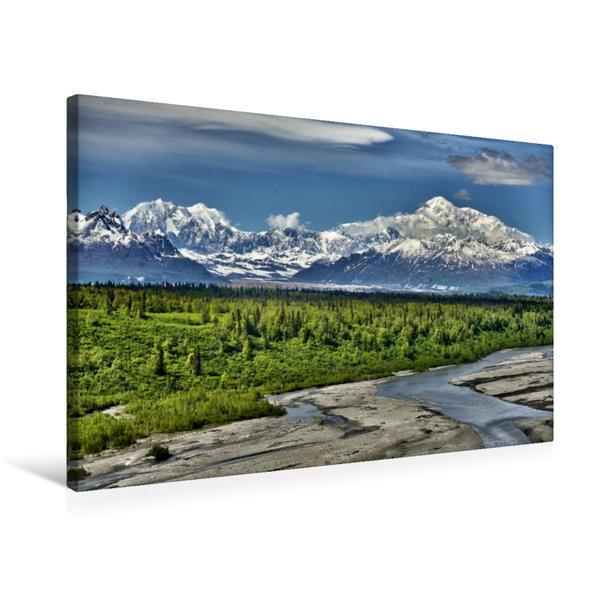 Premium Textil-Leinwand 75 cm x 50 cm quer, Mount McKinley -Denali | Wandbild, Bild auf Keilrahmen, Fertigbild auf echter Leinwand, Leinwanddruck - Coverbild