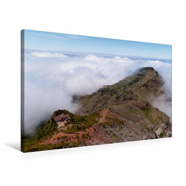 Premium Textil-Leinwand 75 cm x 50 cm quer, Der Blick vom höchsten Berg Madeiras, dem Pico Ruivo. | Wandbild, Bild auf Keilrahmen, Fertigbild auf echter Leinwand, Leinwanddruck - Coverbild