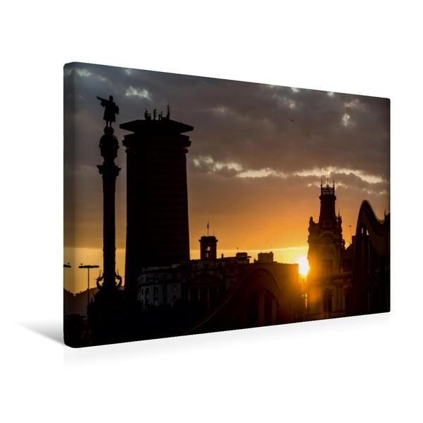 Premium Textil-Leinwand 45 cm x 30 cm quer, Ein Motiv aus dem Kalender Emotionale Momente: Barcelona - die Kolumbus- Statue. | Wandbild, Bild auf Keilrahmen, Fertigbild auf echter Leinwand, Leinwanddruck - Coverbild