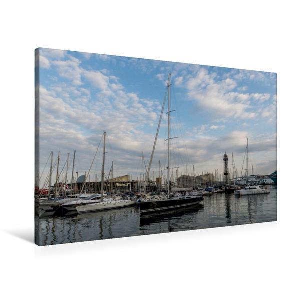 Premium Textil-Leinwand 90 cm x 60 cm quer, Yachthafen   Wandbild, Bild auf Keilrahmen, Fertigbild auf echter Leinwand, Leinwanddruck - Coverbild