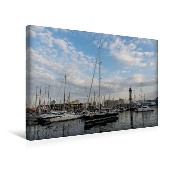 Premium Textil-Leinwand 45 cm x 30 cm quer, Yachthafen | Wandbild, Bild auf Keilrahmen, Fertigbild auf echter Leinwand, Leinwanddruck - Coverbild