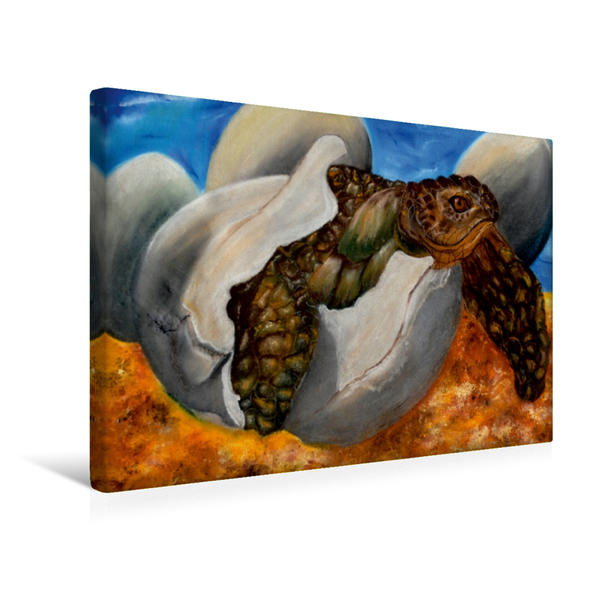 Premium Textil-Leinwand 45 cm x 30 cm quer, Geschlüpft - Pastellkreide | Wandbild, Bild auf Keilrahmen, Fertigbild auf echter Leinwand, Leinwanddruck - Coverbild