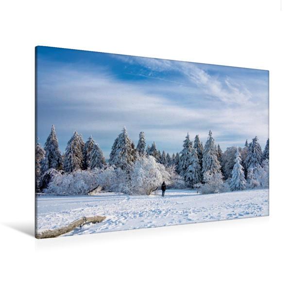 Premium Textil-Leinwand 120 cm x 80 cm quer, Winter auf dem Feldberg im Taunus | Wandbild, Bild auf Keilrahmen, Fertigbild auf echter Leinwand, Leinwanddruck - Coverbild