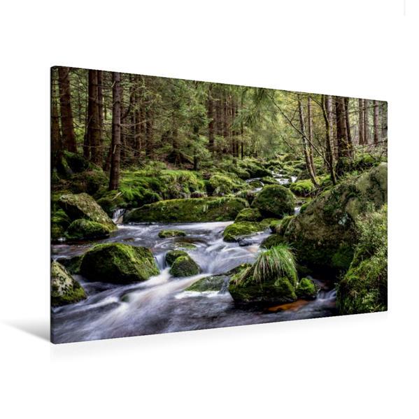 Premium Textil-Leinwand 120 cm x 80 cm quer, Eckerfälle | Wandbild, Bild auf Keilrahmen, Fertigbild auf echter Leinwand, Leinwanddruck - Coverbild