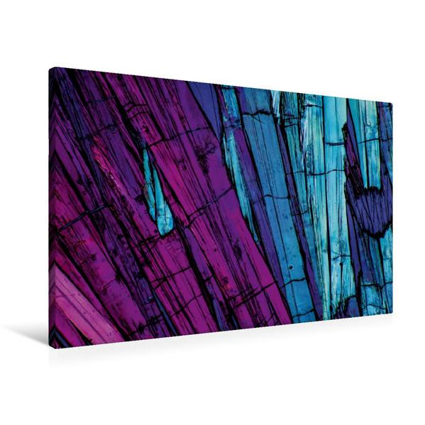 Premium Textil-Leinwand 90 cm x 60 cm quer, Ein Motiv aus dem Kalender Mikrokristalle in polarisiertem Licht | Wandbild, Bild auf Keilrahmen, Fertigbild auf echter Leinwand, Leinwanddruck - Coverbild