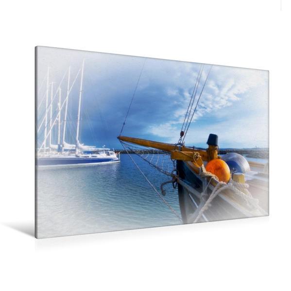 Premium Textil-Leinwand 120 cm x 80 cm quer, Sonderborg Hafen | Wandbild, Bild auf Keilrahmen, Fertigbild auf echter Leinwand, Leinwanddruck - Coverbild