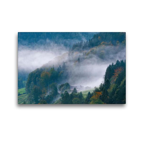 Premium Textil-Leinwand 45 cm x 30 cm quer, Novembernebel | Wandbild, Bild auf Keilrahmen, Fertigbild auf echter Leinwand, Leinwanddruck - Coverbild