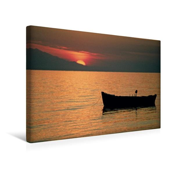 Premium Textil-Leinwand 45 cm x 30 cm quer, Sonnenuntergang in Chalkidike, Griechenland | Wandbild, Bild auf Keilrahmen, Fertigbild auf echter Leinwand, Leinwanddruck - Coverbild