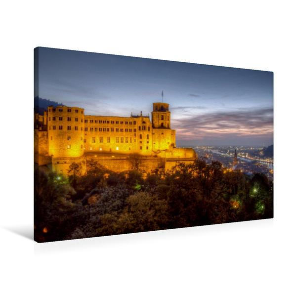 Premium Textil-Leinwand 90 cm x 60 cm quer, Altstadt - Schloss im Abendlicht | Wandbild, Bild auf Keilrahmen, Fertigbild auf echter Leinwand, Leinwanddruck - Coverbild