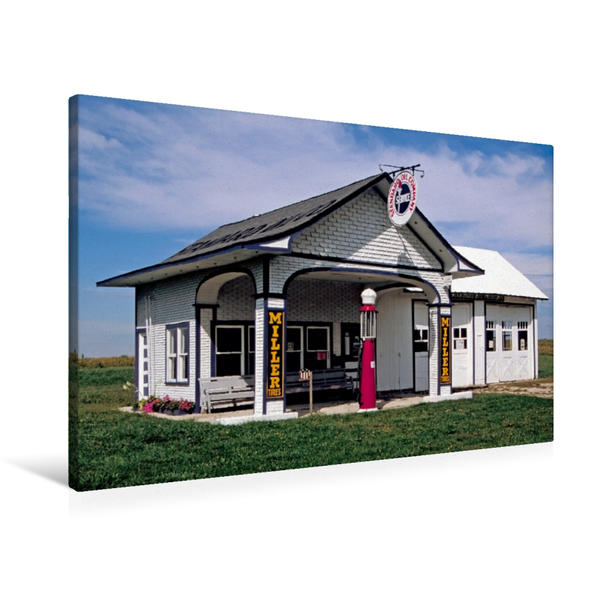Premium Textil-Leinwand 90 cm x 60 cm quer, Tankstelle von 1932, Odell, Illinois | Wandbild, Bild auf Keilrahmen, Fertigbild auf echter Leinwand, Leinwanddruck - Coverbild