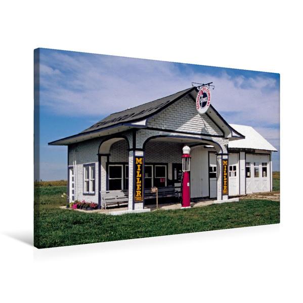 Premium Textil-Leinwand 75 cm x 50 cm quer, Tankstelle von 1932, Odell, Illinois | Wandbild, Bild auf Keilrahmen, Fertigbild auf echter Leinwand, Leinwanddruck - Coverbild