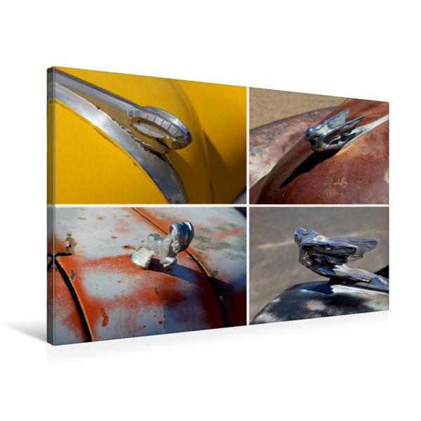 Premium Textil-Leinwand 75 cm x 50 cm quer, Kühlerfiguren von Dodge (1950, 1951) und Cadillac (1938, 1941) | Wandbild, Bild auf Keilrahmen, Fertigbild auf echter Leinwand, Leinwanddruck - Coverbild