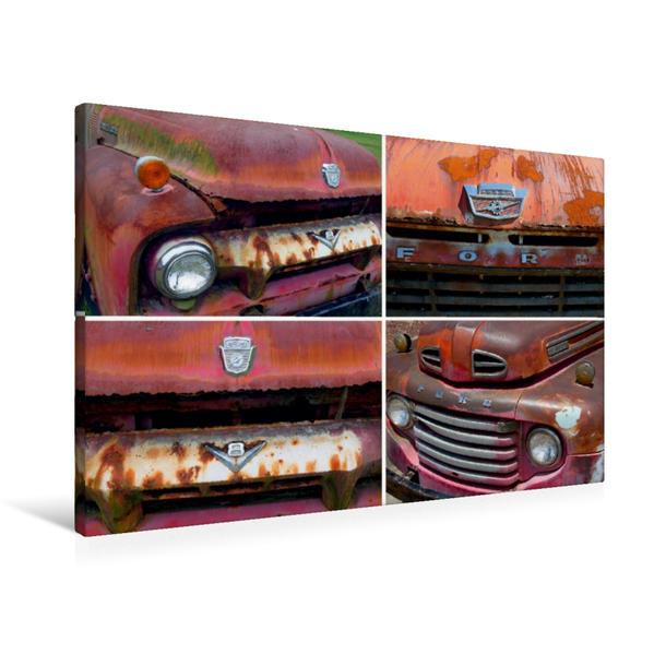 Premium Textil-Leinwand 90 cm x 60 cm quer, Ford F 100, Bj. 1963 und Ford F3 Truck, Bj. 1948, USA | Wandbild, Bild auf Keilrahmen, Fertigbild auf echter Leinwand, Leinwanddruck - Coverbild