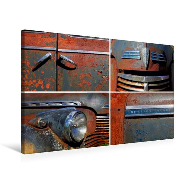 Premium Textil-Leinwand 75 cm x 50 cm quer, Ein Motiv aus dem Kalender Rost und Staub - Rostende US-Oldtimer | Wandbild, Bild auf Keilrahmen, Fertigbild auf echter Leinwand, Leinwanddruck - Coverbild