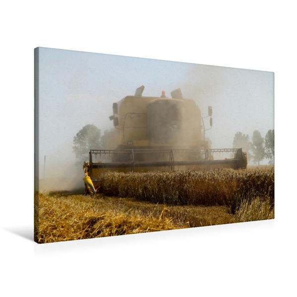 Premium Textil-Leinwand 90 cm x 60 cm quer, Mähdrescher im Einsatz | Wandbild, Bild auf Keilrahmen, Fertigbild auf echter Leinwand, Leinwanddruck - Coverbild