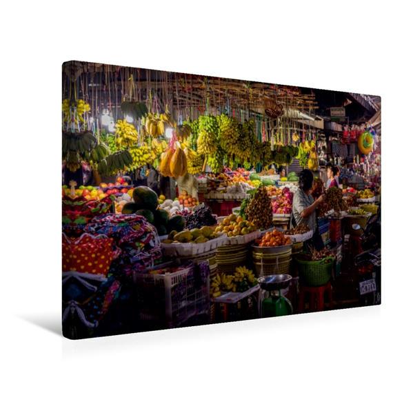 Premium Textil-Leinwand 45 cm x 30 cm quer, Ein Motiv aus dem Kalender Märkte Kambodschas | Wandbild, Bild auf Keilrahmen, Fertigbild auf echter Leinwand, Leinwanddruck - Coverbild