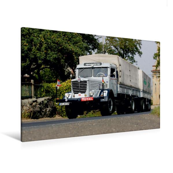 Premium Textil-Leinwand 120 cm x 80 cm quer, Ein Motiv aus dem Kalender Klassische Lastkraftwagen | Wandbild, Bild auf Keilrahmen, Fertigbild auf echter Leinwand, Leinwanddruck - Coverbild
