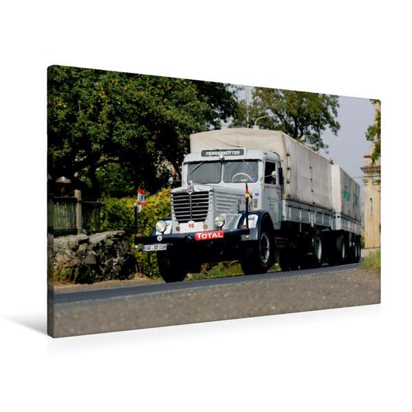 Premium Textil-Leinwand 90 cm x 60 cm quer, Ein Motiv aus dem Kalender Klassische Lastkraftwagen   Wandbild, Bild auf Keilrahmen, Fertigbild auf echter Leinwand, Leinwanddruck - Coverbild
