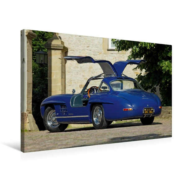 Premium Textil-Leinwand 75 cm x 50 cm quer, Mercedes 300 SL Aluminium | Wandbild, Bild auf Keilrahmen, Fertigbild auf echter Leinwand, Leinwanddruck - Coverbild