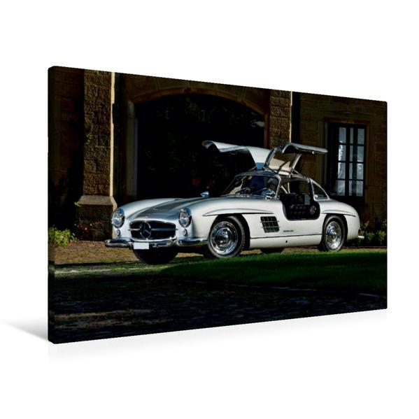 Premium Textil-Leinwand 90 cm x 60 cm quer, Mercedes 300 SL Flügeltürer   Wandbild, Bild auf Keilrahmen, Fertigbild auf echter Leinwand, Leinwanddruck - Coverbild