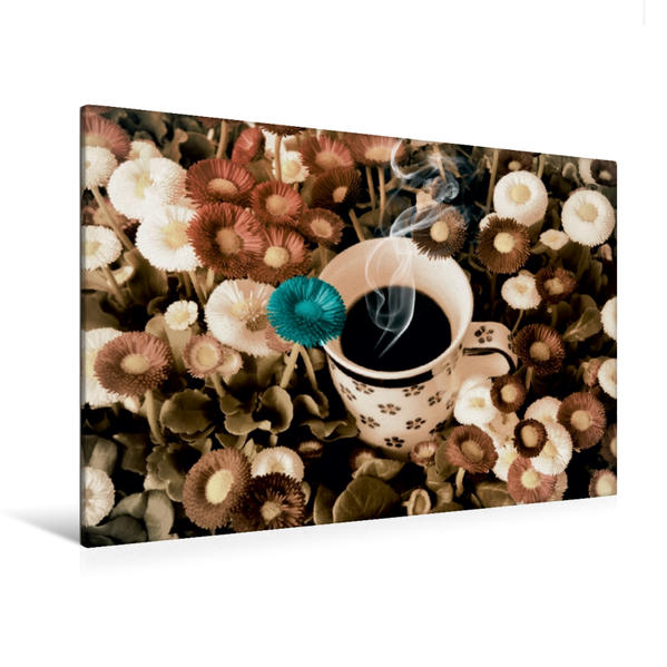 Premium Textil-Leinwand 120 cm x 80 cm quer, homemade chaos - Blümchenkaffee | Wandbild, Bild auf Keilrahmen, Fertigbild auf echter Leinwand, Leinwanddruck - Coverbild