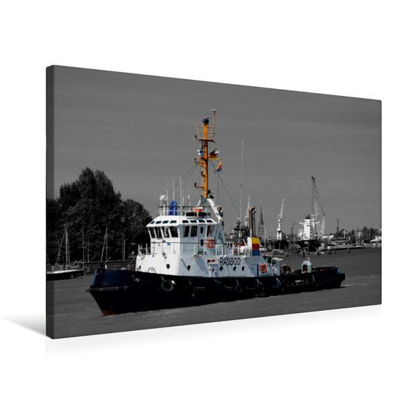 Premium Textil-Leinwand 75 cm x 50 cm quer, Schleppschiff im Hafen, Colorkey   Wandbild, Bild auf Keilrahmen, Fertigbild auf echter Leinwand, Leinwanddruck - Coverbild