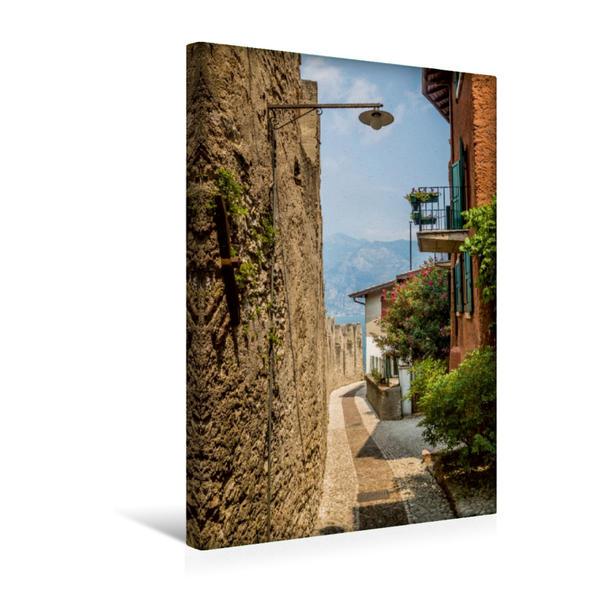Premium Textil-Leinwand 30 cm x 45 cm hoch, MALCÉSINE Weg zur Bucht | Wandbild, Bild auf Keilrahmen, Fertigbild auf echter Leinwand, Leinwanddruck - Coverbild