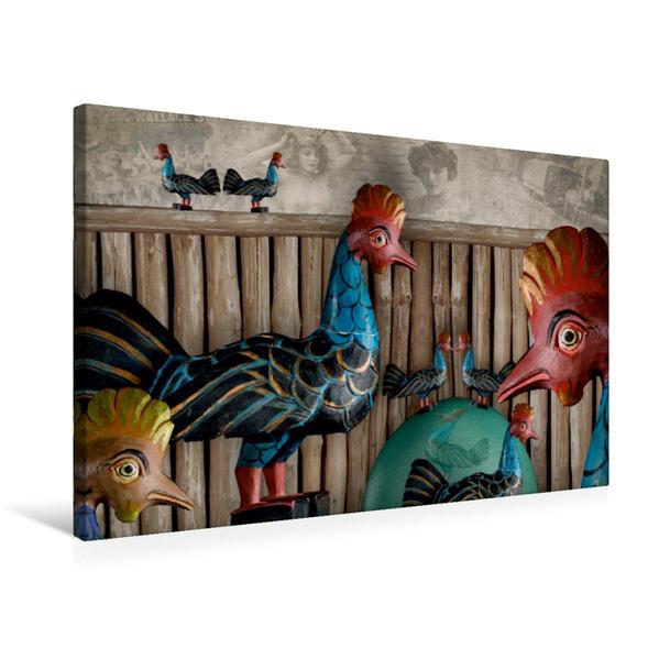 Premium Textil-Leinwand 75 cm x 50 cm quer, Freilaufende Hühner sind immer glücklich | Wandbild, Bild auf Keilrahmen, Fertigbild auf echter Leinwand, Leinwanddruck - Coverbild