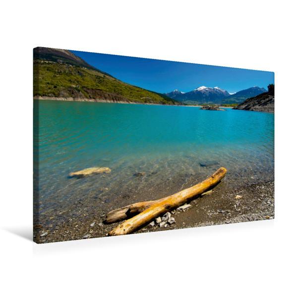 Premium Textil-Leinwand 75 cm x 50 cm quer, Lac de Serre Poncon | Wandbild, Bild auf Keilrahmen, Fertigbild auf echter Leinwand, Leinwanddruck - Coverbild