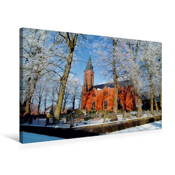 Premium Textil-Leinwand 75 cm x 50 cm quer, St. Nikolai-Kirche zu Stollhamm | Wandbild, Bild auf Keilrahmen, Fertigbild auf echter Leinwand, Leinwanddruck - Coverbild