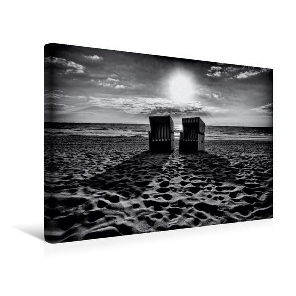 Premium Textil-Leinwand 45 cm x 30 cm quer, Strandkörbe bei Kampen | Wandbild, Bild auf Keilrahmen, Fertigbild auf echter Leinwand, Leinwanddruck - Coverbild