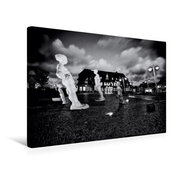 Premium Textil-Leinwand 45 cm x 30 cm quer, Bahnhof Westerland bei Nacht | Wandbild, Bild auf Keilrahmen, Fertigbild auf echter Leinwand, Leinwanddruck - Coverbild