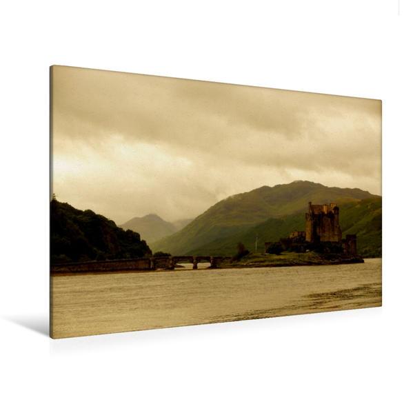 Premium Textil-Leinwand 120 cm x 80 cm quer, Eilean Donan Castle | Wandbild, Bild auf Keilrahmen, Fertigbild auf echter Leinwand, Leinwanddruck - Coverbild