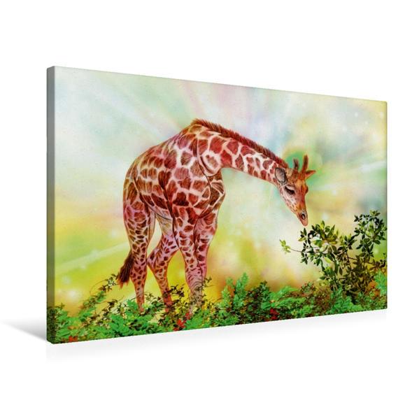 Premium Textil-Leinwand 75 cm x 50 cm quer, Giraffe | Wandbild, Bild auf Keilrahmen, Fertigbild auf echter Leinwand, Leinwanddruck - Coverbild