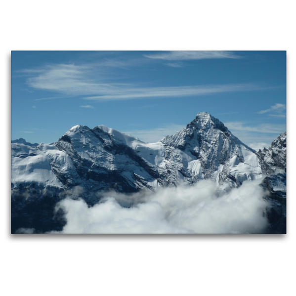 Premium Textil-Leinwand 120 cm x 80 cm quer, Panoramablick vom Schilthorn | Wandbild, Bild auf Keilrahmen, Fertigbild auf echter Leinwand, Leinwanddruck - Coverbild