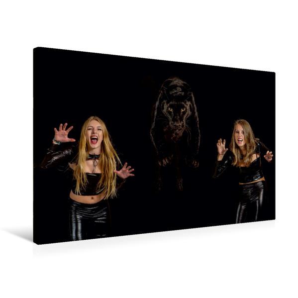 Premium Textil-Leinwand 75 cm x 50 cm quer, Paula und Anna mit Schwarzem Panther | Wandbild, Bild auf Keilrahmen, Fertigbild auf echter Leinwand, Leinwanddruck - Coverbild