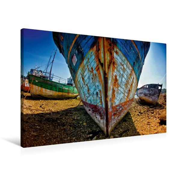 Premium Textil-Leinwand 90 cm x 60 cm quer, Schiffsfriedhof in Camaret sur Mer   Wandbild, Bild auf Keilrahmen, Fertigbild auf echter Leinwand, Leinwanddruck - Coverbild