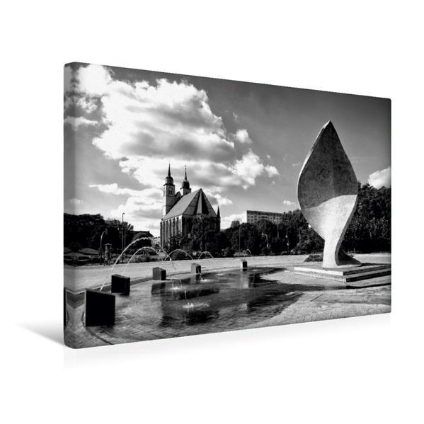 Premium Textil-Leinwand 45 cm x 30 cm quer, Johanniskirche mit Fahnenmonument | Wandbild, Bild auf Keilrahmen, Fertigbild auf echter Leinwand, Leinwanddruck - Coverbild
