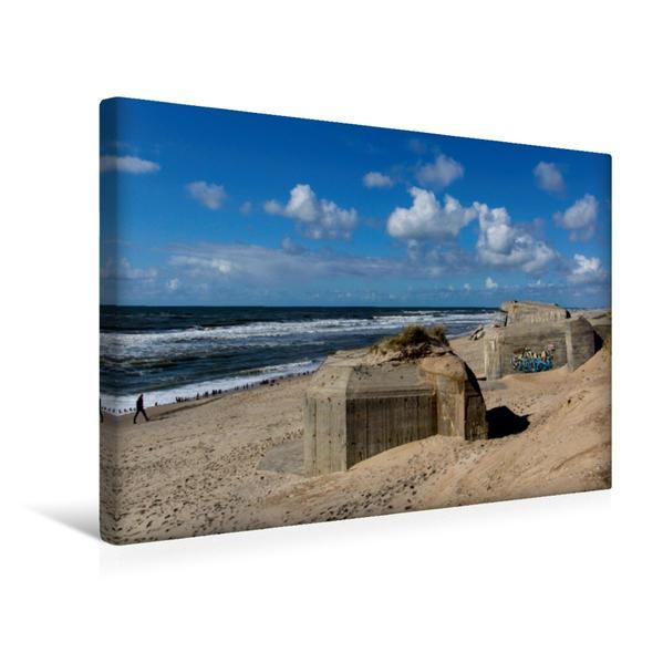 Premium Textil-Leinwand 45 cm x 30 cm quer, Deutsche Bunker am Strand in Kryle | Wandbild, Bild auf Keilrahmen, Fertigbild auf echter Leinwand, Leinwanddruck - Coverbild